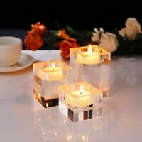 Crystal Cube Candle Holder Centerpiece Glass Tealight Candlestick Home Decor