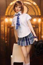 """White Shirt Clothes Suit Student Uniform Grid Skirt 1/6 Set For 12"""" Doll"""