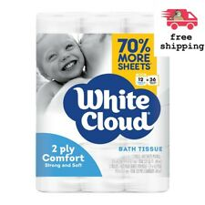 White Cloud 2-Ply Comfort Hypoallergenic Toilet Paper Septic safe 12-Rolls Pack