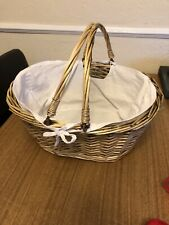 WICKER BASKET-WITH COTTON LINING-AMAZING CONDITION-GREAT FOR HAMPER/BABY SHOWER