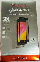 Zagg InvisibleShield Glass+ 360 Screen Protector With Bumper for iPhone 8 ,Black