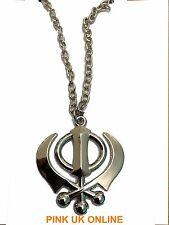 New Unisex Silver Khanda Pendant Sikh Symbol Necklace Emblem of Sikhism