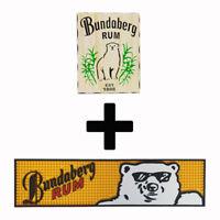 Bundaberg Bundy Rum 2 Combo Pack - Timber Sign + Rubber Bar Mat Runner PVC Ba...