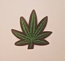 """Pot Leaf 3 1/4"""" Green/Black Embroidered Iron on/ Sew on Patch"""