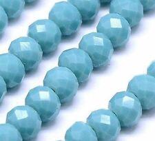 20 Jade Perlen Halbedelsteine 6mm Türkis Blau Rondelle Schmuckperlen BEST G313