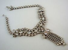 """Signed Vintage WEISS Rhinestone Choker VERY SMALL 13"""" Clear Marquis & Chatons"""