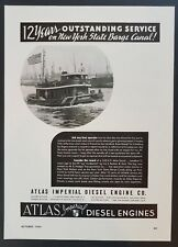 1940 Atlas Imperial Marine Engines Tugboat Photo Ny Barge Canal Vtg Print Ad