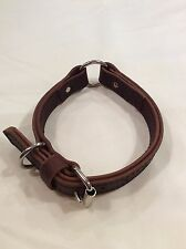 Brown Leather Collar with large center ring and D ring