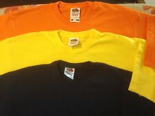 fruit of the loom 12 - 13  years  3  tshirts yellow navy and orange