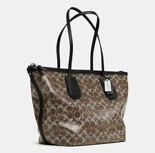 COACH F33504 TAXI ZIP TOP TOTE IN SIGNATURE COATED CANVAS WOMEN BAG BROWN NEW