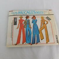 Vintage 70s McCall 5623 Knit Ruched Bust Jumpsuit Coat Size12 Carefree Pattern