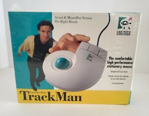 Logitech Trackman Ergonomic Mouse Track Man Mouse Model #4095 New Vintage