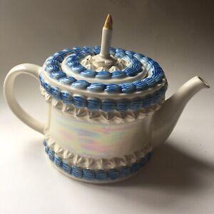 Tony Carter First Birthday Cake Candle Teapot blue iridescent England 8919 1995