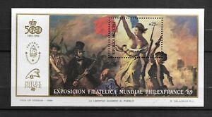 BLOC  FEUILLET  DE L'EXPOSITION PHILEXFRANCE 1989  ARGENTINE  SUPERBE