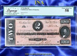 INA CONFEDERATE STATES of America 1864 $2 T-70 Civil War Era LEGACY Choice AU 58