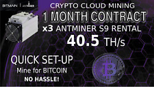 CLOUD MINING Contract x3 S9 Bitmain Antminer Rental 40.5TH BITCOIN Mining 30 Day