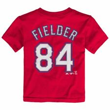 MLB Majestic Faux Stitch Name & Number T-shirt Collection Toddler Sz (2t-4t) Texas Rangers Prince Fielder 2 Red 4t