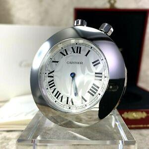 Rare Authentic C de Cartier Travel Clock Silver 2C Decor w/ Case & Papers (NEW)