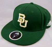 Baylor University Bears Size 7 Adidas Fitted Hat Green Ball Cap  Embroidered BU