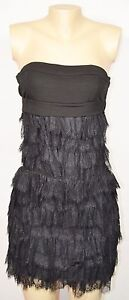 HANITA Black Strapless Dress XS Tiered Lace Skirt Stretch Bodice Made in Italy