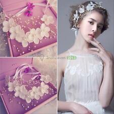 Bride White Flowers Pearl Garland Wedding Crown Floral Hair Headdress Headband