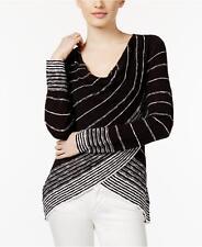NEW(JN828518) INC International Concepts Tulip-Hem Sweater Black White Sz XS $70