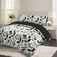 Black Floral Leaf 100% Brushed Cotton Flannelette Quilt Duvet Cover Bedding Set