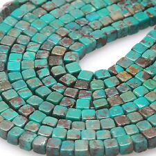 100 pcs 4x4mm Genuine Chinese Natural Turquoise Loose Spacer Cube Beads