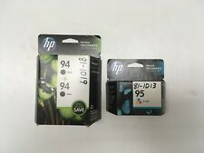 HP 94 BLACK & 95 TRI-COLOR INK CARTRIDGE NEW 3 TOTAL