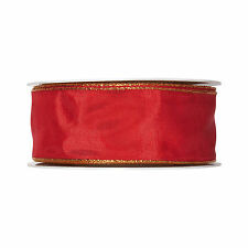 Red Taffeta Ribbon 40mm wide x 25m with a Gold Edge Made in Germany