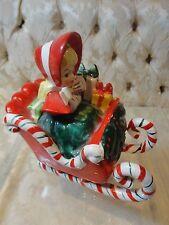 Lefton 1958 Christmas Shopper Girl in Candy Cane Sleigh
