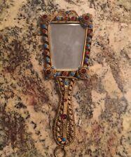 "Victorian Antique Hand Held Mirror W/ Stones - 13"" Long"
