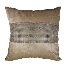 SHINY BLING SILVER BEIGE THICK VELVET DECO CUSHION COVER THROW PILLOW CASE 17""