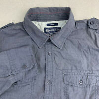 American Rag Button Up Shirt Mens Large Gray Long Sleeve Casual