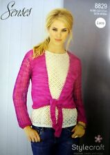 Stylecraft 8829 Senses Lace  32/34- 48/50 Ins Ladies wrap-over Cardigans