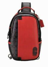 Coach Edge Sling Pack in Signature Charcoal Black/Red 598