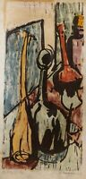 """Margaret Raper """"H2SO4"""" Signed Numbered 1/6 Hand Colored Woodcut Print 1958"""