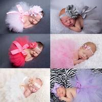 UK Newborn Baby Girl Boy Lace up Costume Dress Photo Photography Headband Outfit