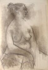 ORIGINAL 1950s MID CENTURY MODERN ARTWORK Drawing SEATED FEMALE NUDE Study L