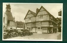EVESHAM, OLD HOUSE,MARKET PLACE  WITH ROW OF CARS,vintage postcard