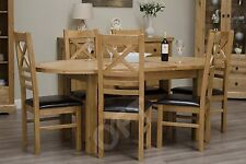 Montero Oval Extending Dining Table and Six Chairs Set Solid Oak Furniture