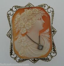 Large Vintage 14K White Gold Floral Lady Shell Cameo Diamond Brooch Pin Pendant