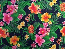 "Hawaiian tropical hibiscus plumeria flower polyester fabric Navy blue, 36"" w,bty"