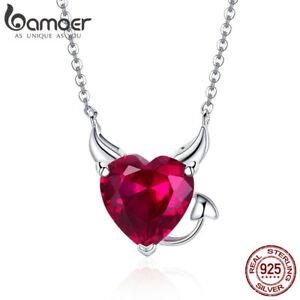 BAMOER Fine S925 Sterling silver Necklace Red AAA Zircon Devil For Women Jewelry
