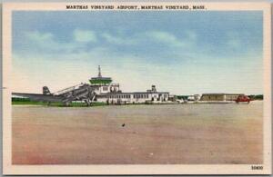 "Vintage 1940s Massachusetts Postcard ""MARTHA'S VINEYARD AIRPORT"" Linen Unused"