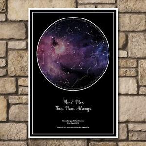 Personalised Star Sky Night Map Custom Galaxy Print Present Fun Gift Fathers Day