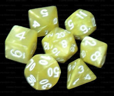 New 7 Piece Polyhedral Dice Set - Kings Ransom Yellow Marble - Cream Dice Bag