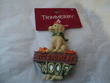"""Christmas Ornament-Cake Topper 4"""" Hunting yellow lab dog """"You Had me from Woof"""""""