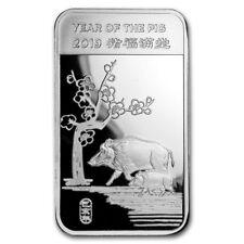 Lingot Cochon 5 Onces argent pur 999 / 5 Oz Lunar PIG 2019 Fine Silver 999 Bar