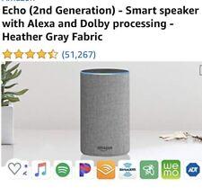 Amazon Echo (2nd Generation) Smart Speaker with Alexa/Heather Gray Fabric/SEALED